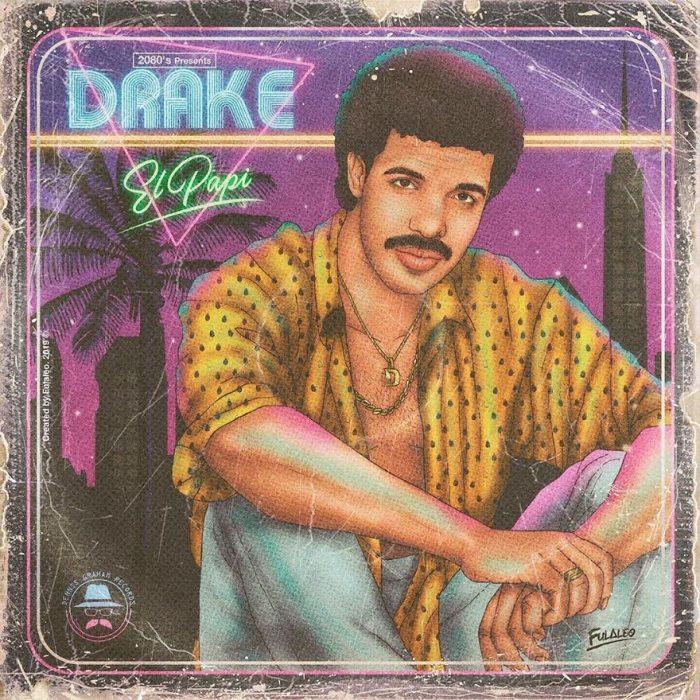 Ilustración estilo años 80 de Drake