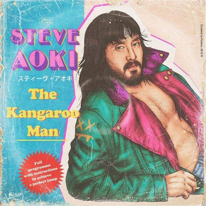Ilustración estilo años 80 de Steve Aoki
