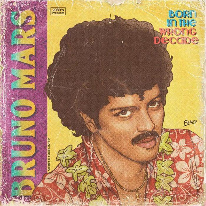 Ilustración estilo años 80 de Bruno Mars