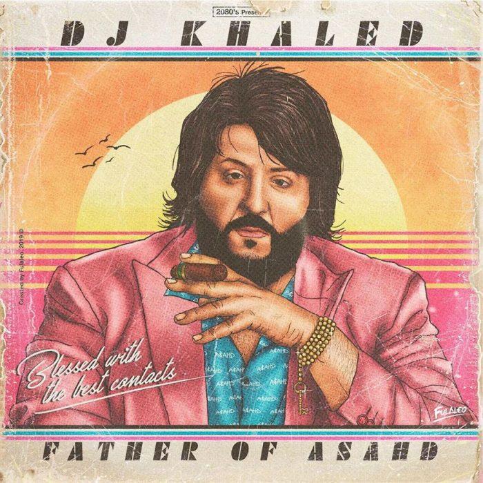 Ilustración estilo años 80 de Dj Khaled