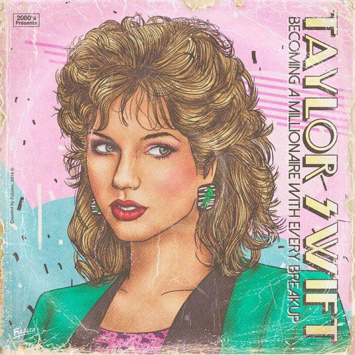 Ilustración estilo años 80 de Taylor Swift