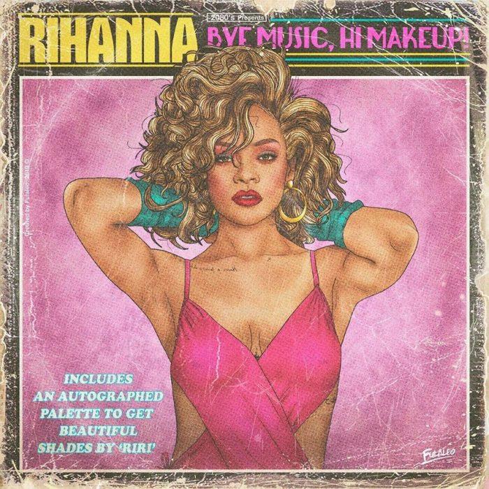 Ilustración estilo años 80 de Rihanna