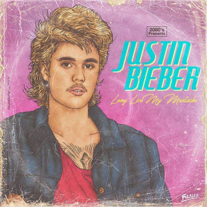 Ilustración estilo años 80 de Justin Bieber