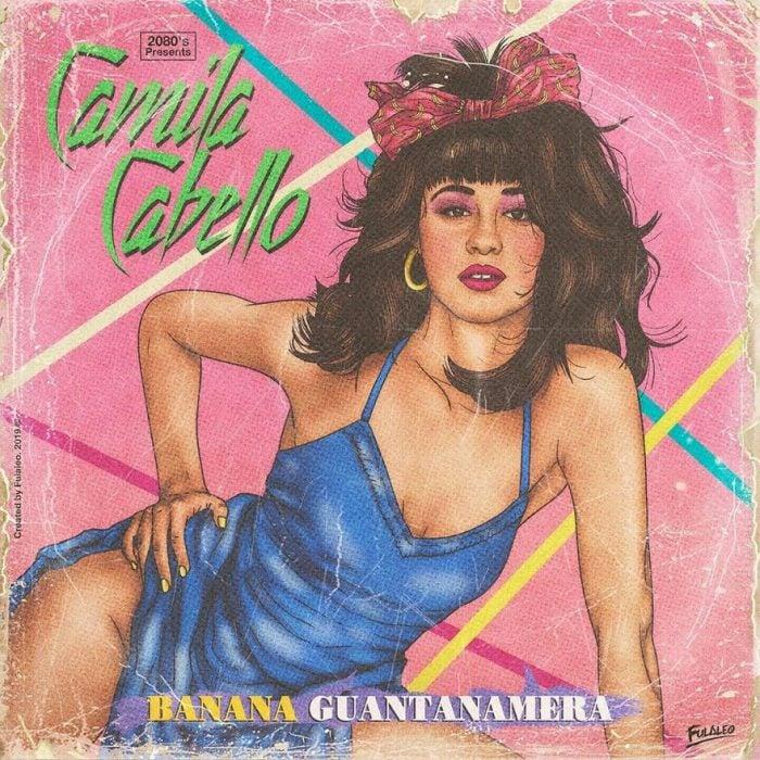 Ilustración estilo años 80 de Camila Cabello
