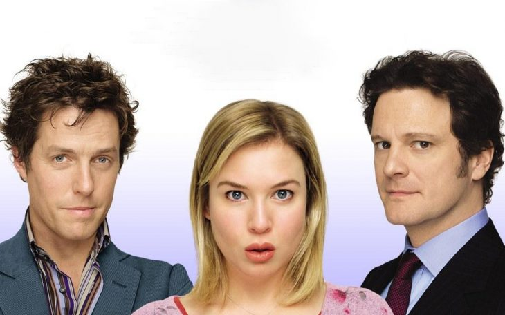 Escena del triángulo amoroso con Hugh Grant, Reneé Zellweger y Colin Firth de la película el diario de Bridget Jones