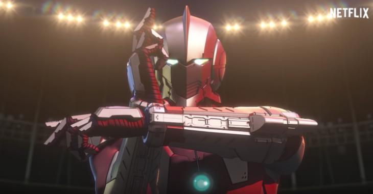 Escena de un robot cruzando los brazos de la película animada Ultraman
