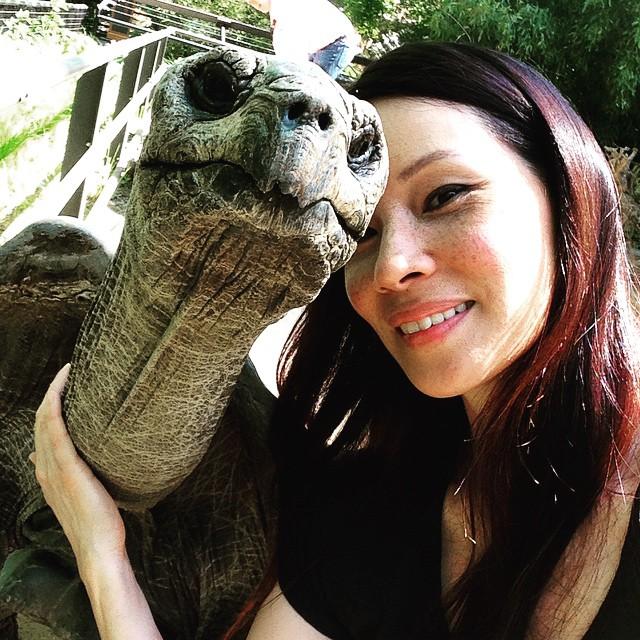 Lucy Liu junto a una tortuga