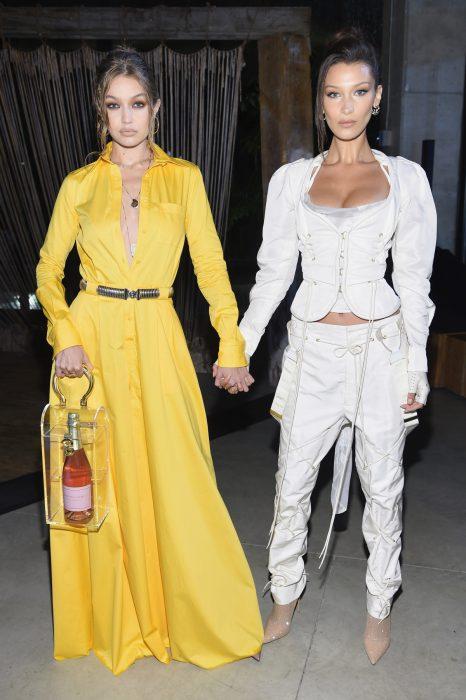 Gigi y Bella Hadid tomadas de las manos mientras posan para una fotografía