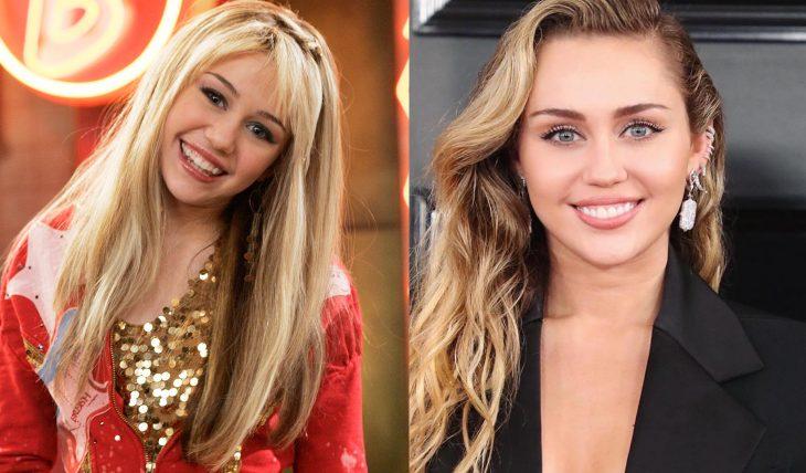 Miley Cyrus mostrando sus cejas cuando trabajaba en Disney como hanna montana y después con las cejas definidas