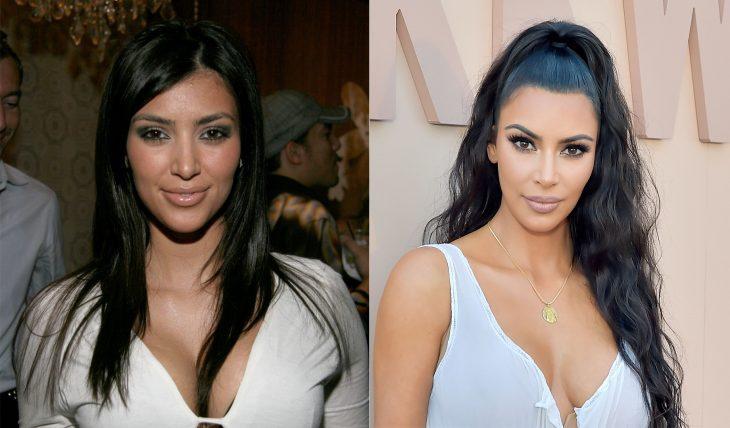 Kim Kardashian antes y después de cambiar sus cejas gracias al maquillaje
