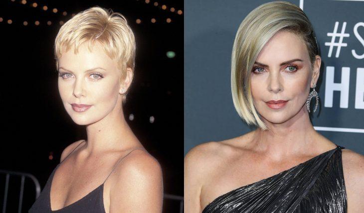 Charliz theron con las cejas delgadas en los 90 y con las cejas definidas en la entrega de los Óscar