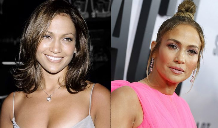 Jennifer López antes y después de cambiar sus cejas con maquillaje