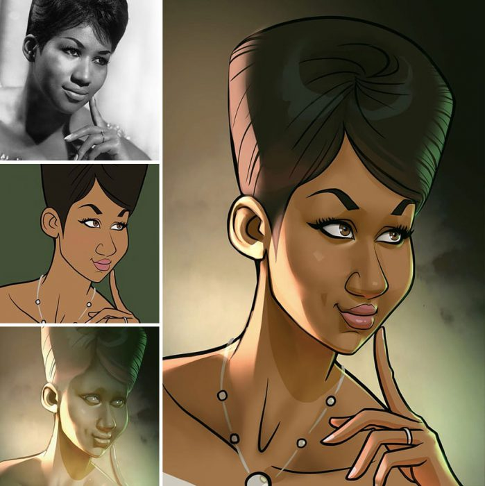 Artista hace caricaturas de celebridades