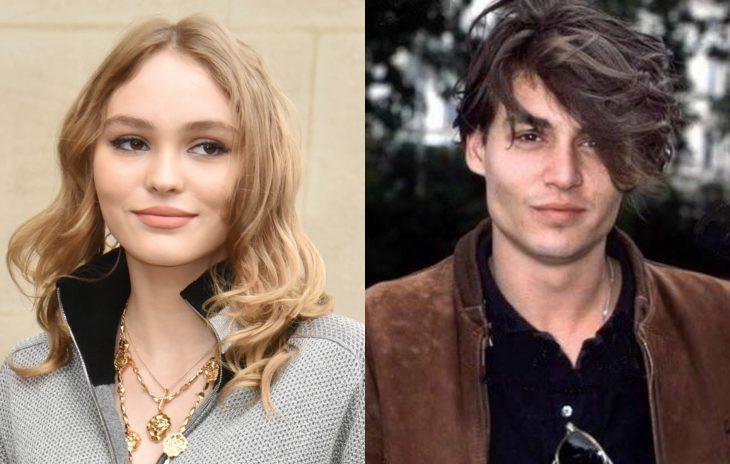 Lily Rose Depp y Johnny Depp jóvenes, famosos jóvenes
