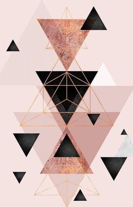 Fondo de pantalla de celular que tiene triangulos minimalistas en colores dorados, rosas y negros