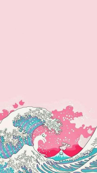Fondo para celular, wallpaper ilustración de ola japonesa con forma de gato y fondo rosa