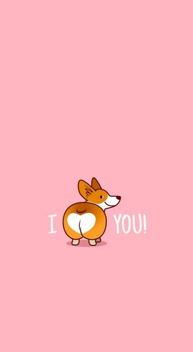"Fondo para celular, wallpaper bonito de perro corgi en fondo rosa con la frase ""te amo"""