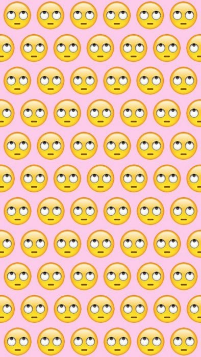 Fondos de pantalla para celular, wallpaper de emoji de carita volteando los ojos en fondo rosa