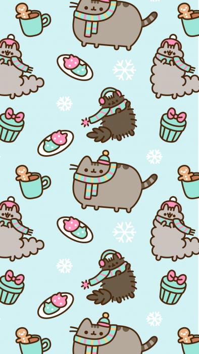 Fondo para celular, wallpaper bonito del gato Pusheen con comida y ropa para el frío en fondo azul