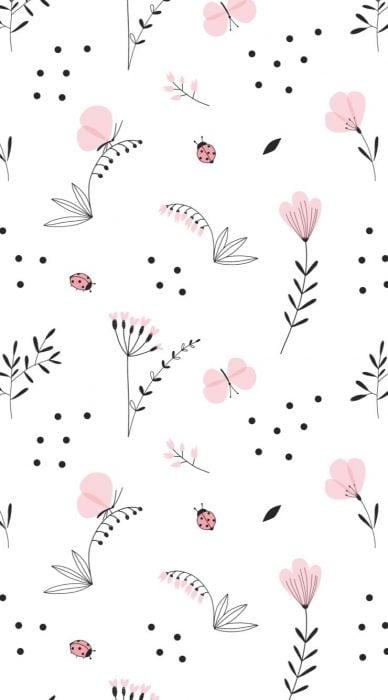 Fondo para celular, wallpaper bonito de flores minimalistas sobre fondo blanco