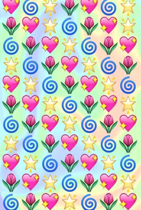 Fondos de pantalla para celular, wallpaper de emojis de estrellas, corazones y flores sobre un fondo de colores