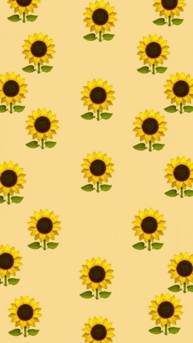 Fondos de pantalla para celular, wallpaper de emoji de girasol con fondo amarillo