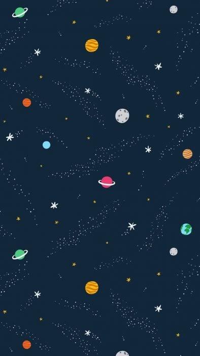 Fondo para celular, wallpaper ilustración de universo con planetas y estrellas