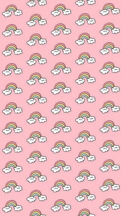 Fondo para celular, wallpaper bonito de arcoíris con nubes sobre fondo rosa