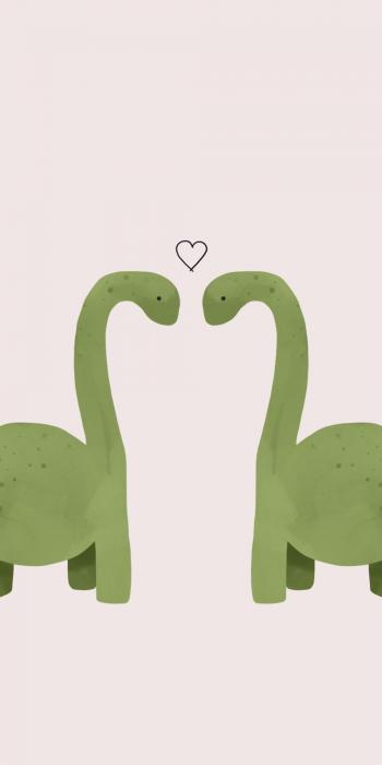 Fondo para celular, wallpaper ilustración de dos dinosaurios con un corazón sobre un fondo rosa