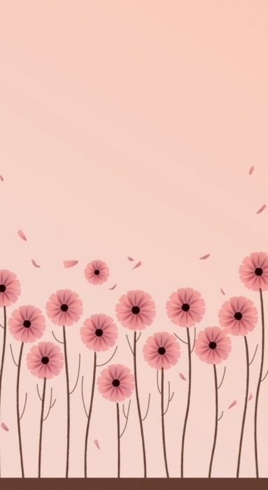 Fondo para celular, wallpaper bonito de flores rosas minimalistas sobre fondo rosa