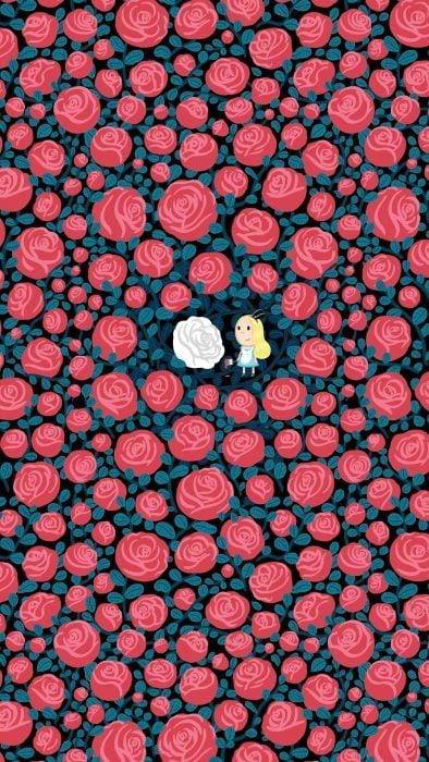 Fondo para celular, wallpaper ilustración de Alicia en el país de las maravillas en el jardín de rosas