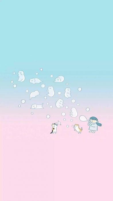 Fondo para celular, wallpaper ilustración de niña haciendo burbujas en forma de gatos