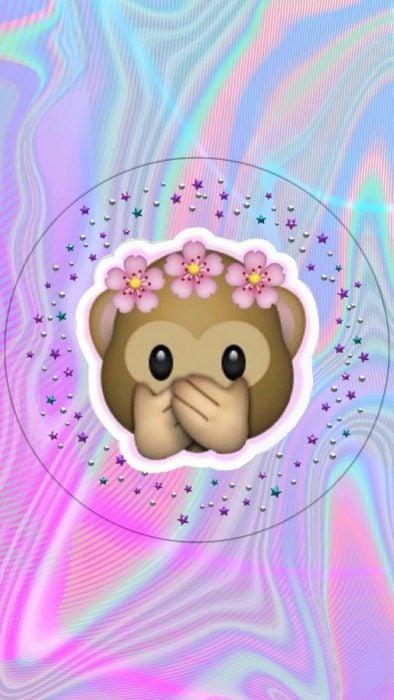 Fondos de pantalla para celular, wallpaper de emoji de changuito tapándose la boca con corona de flores
