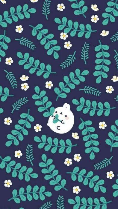 Fondo para celular, wallpaper bonito de conejo con ramas de plantas