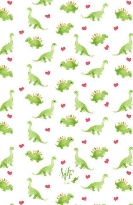 Fondo para celular, wallpaper bonito de dinosaurios y corazones en fondo rosa