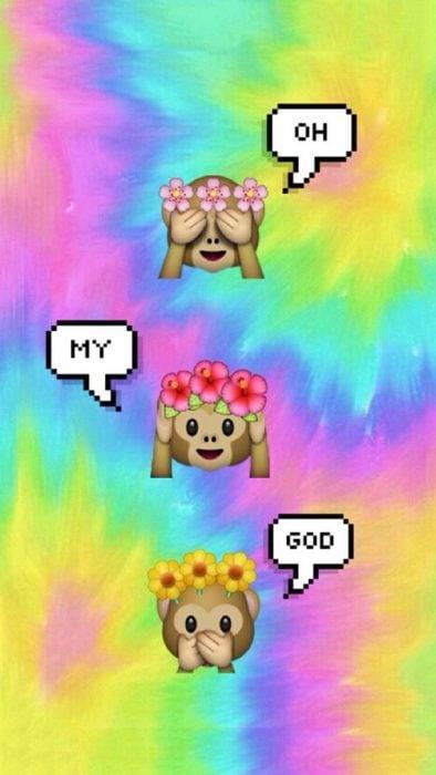 Fondos de pantalla para celular, wallpaper de emoji de tres changuitos con corona de flores sobre un fondo psicodélico de colores