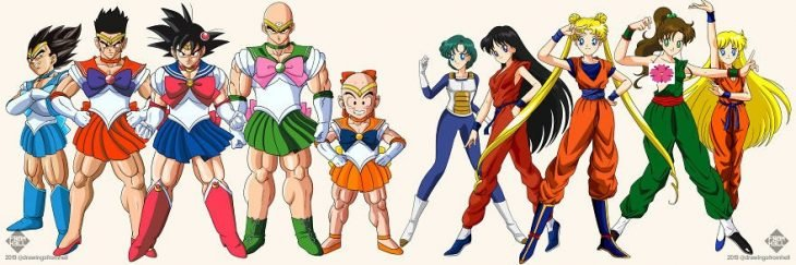 personajes de Dragon Ball y Sailor Moon