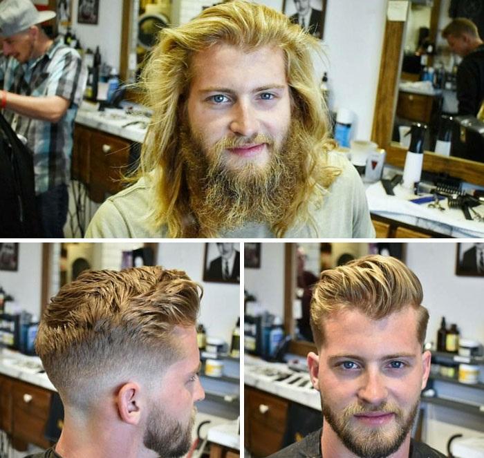 hombre antes y después de cortar su cabello