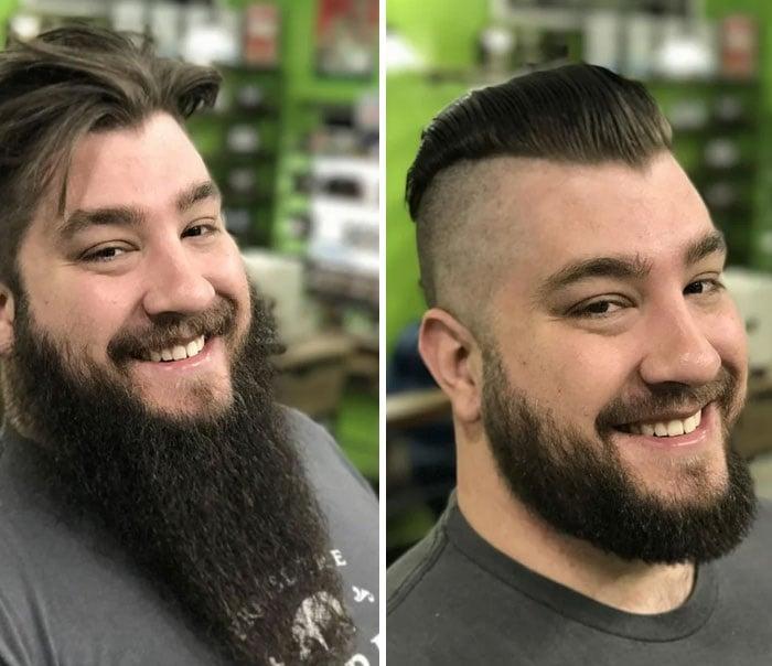 hombre con cabello largo y corto