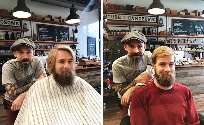 hombre cortando el cabello de otro hombre
