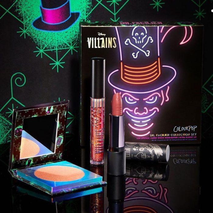 Set de maquillaje, de labial, lip gloss, paleta de sombras y rubor del personaje Dr. Facilier de Disney