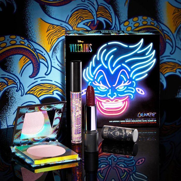 Set de maquillaje, de labial, lip gloss, paleta de sombras y rubor del personaje de Úrsula de Disney