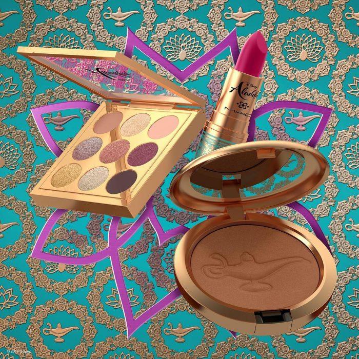 Estuche de maquillaje compacto, sombras y labial rosa inspirados en Aladdin