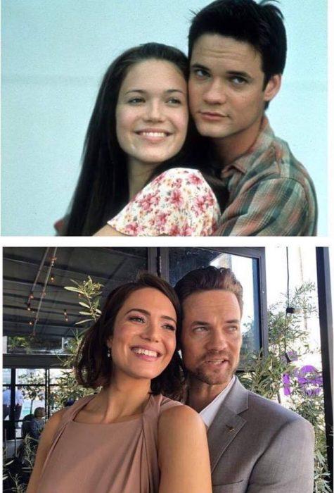 Dos fotografías comparativas de hace, de las actrices Mandy Moore y Shane West