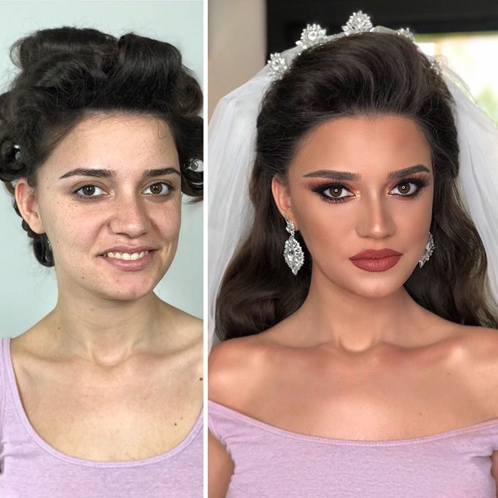 Novia antes y después del maquillaje para su boda