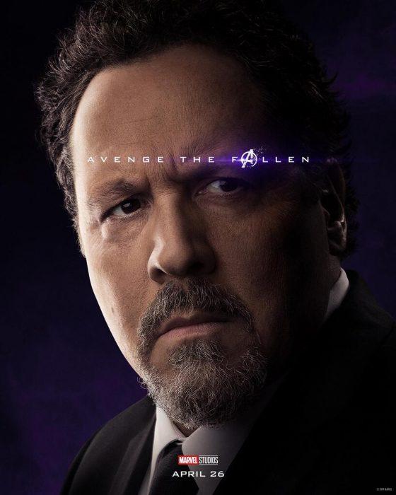 Hombre usando traje sastre, con mirada preocupada, Happy Hogan, Jon Favreau, Póster oficial de la película Avengers: Endgame
