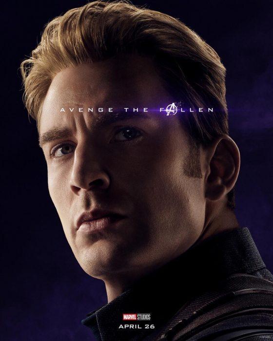 Chico con cabello rubio peinado hacia atrás, ceño fruncido, Captain America, Chris Evans, Póster oficial de la película Avengers: Endgame