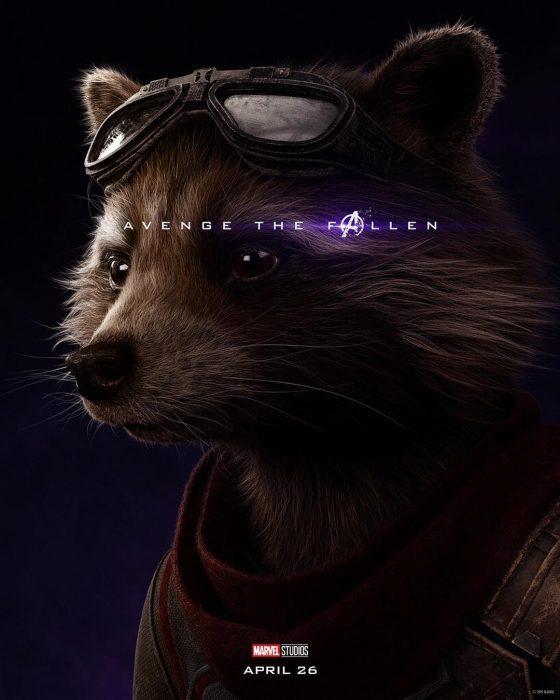 Mapache usando googles. Rocker Raccoon, Bradley Cooper, Póster oficial de la película Avengers: Endgame