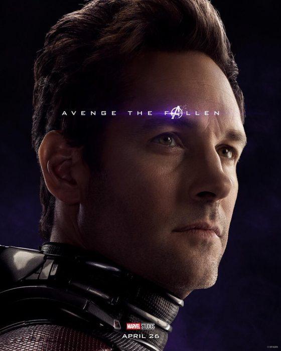 Hombre de nariz afilada, piel clara, cabello corto, Ant-Man, Paul Rudd, Póster oficial de la película Avengers Endgame