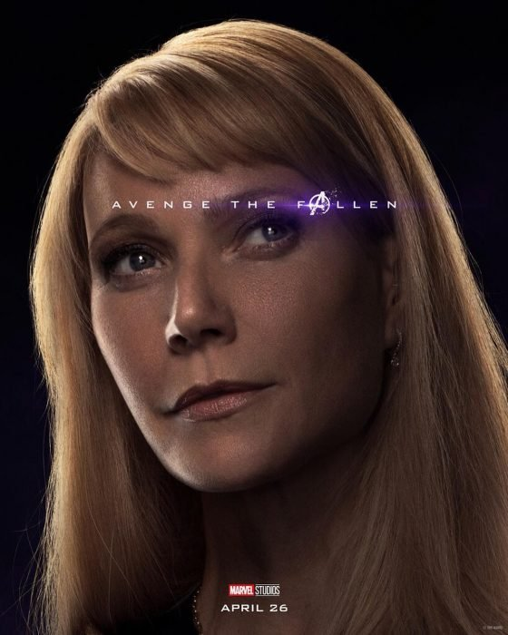 Chica con cabello rubio, con mirada desesperanzada, Pepper Potts, Gwyneth Paltrow, Póster oficial de la película Avengers: Endgame